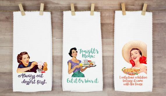 3. Retro Housewife Kitchen Towel Set
