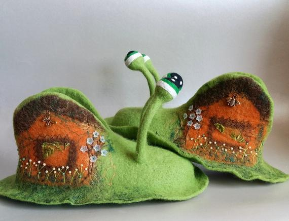 8. Snail Felted Slippers