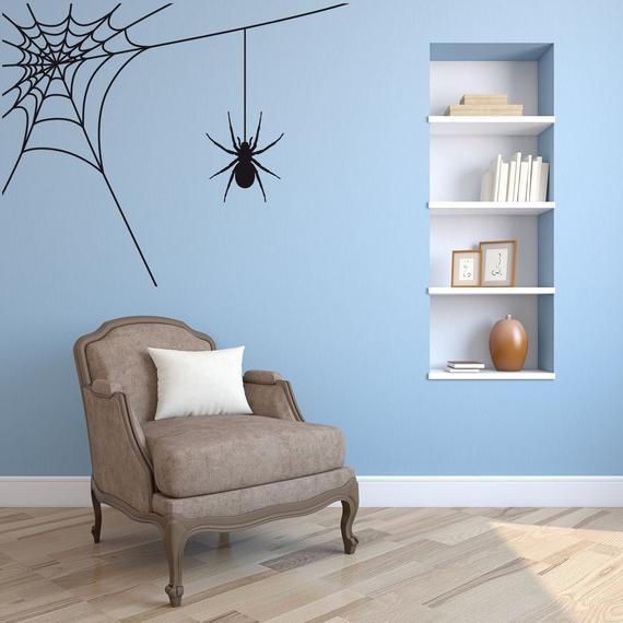 7. Spider and Web Fun Halloween Wall Sticker Decal Art